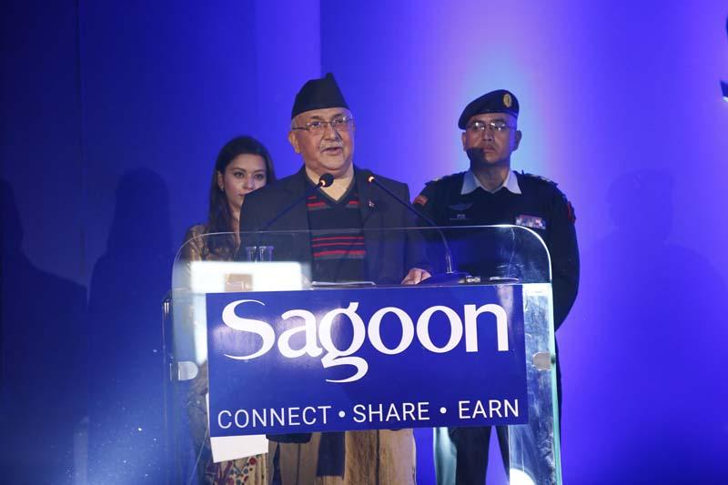 Prime Minister KP Sharma Oli addresses the global launching function of Sagoon.com, in Kathmandu, on Sunday, November 8, 2015. Photo: Sagoon