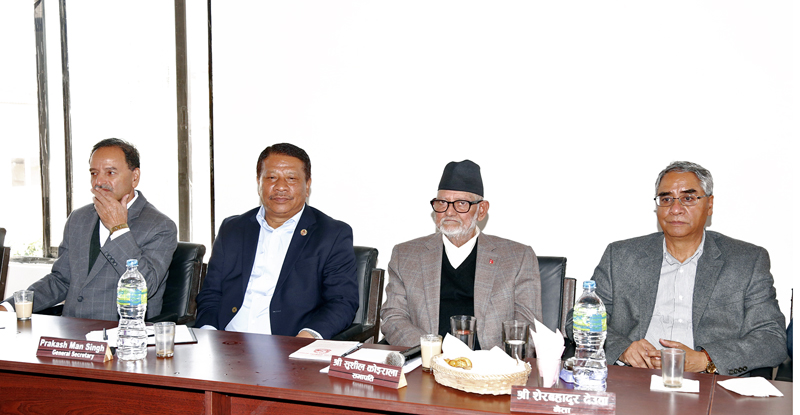 Top leaders of Nepali Congress taking part in Central Working Committee in Kathmandu. Photo: RSS