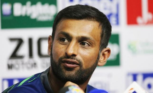 Pakistan's Shoaib Malik during a press conference as he announces his retirement from test cricket. Photo: Action Images via Reuters