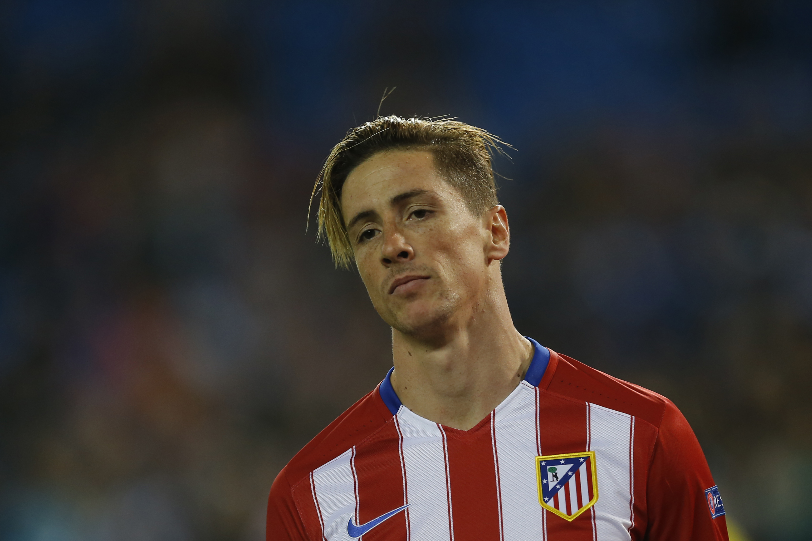 Atletico's Fernando Torres looks on during the Champions League group C soccer match between Atletico Madrid and Astana at the Vicente Calderon stadium in Madrid, Wednesday, Oct. 21, 2015.  (AP Photo/Francisco Seco)