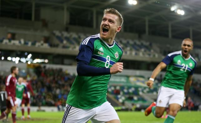 Northern Ireland's Steven Davis celebrates scoring their first goalnAction Images via Reuters / Matthew ChildsnLivepic