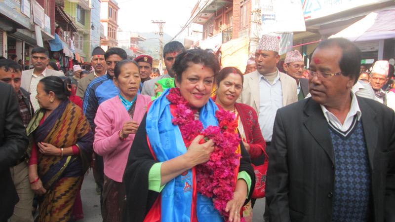 Nepali Congress leader Sujata Koirala in Damauli of Tanahun district on Sunday, November 22, 2015. Photo: Madan Wagle
