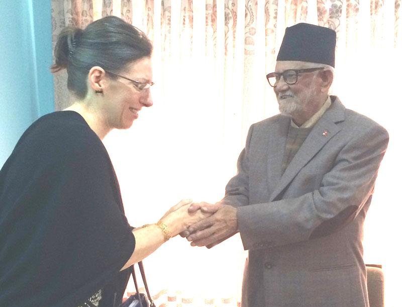 Nepali Congress President Sushil Koirala receives US Ambassador to Nepal Alaina Teplitz, at his residence in Kathmandu, on Wednesday, November 4, 2015. Photo: Prakash Adhikari