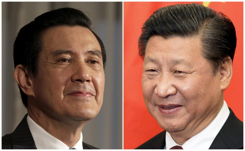 A combination photograph shows Taiwan President Ma Ying-jeou (left) listening to a question during an interview with Reuters at the Presidential Office in Taipei in this June 1, 2012 file photograph and Chinese President Xi Jinping smiling before his meeting at the Diaoyutai State Guesthouse in Beijing, China October 29, 2015. Photo: Reuters/ File