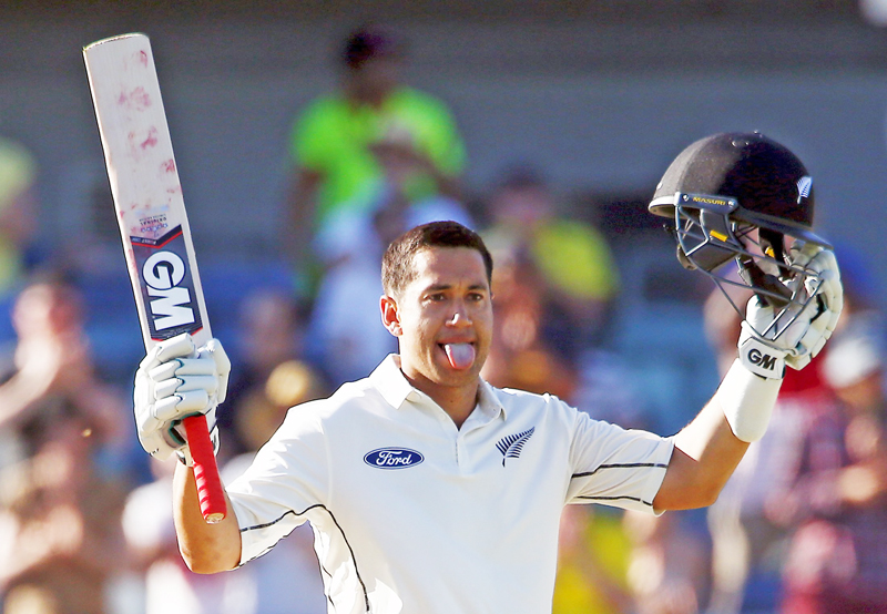 New Zealand's Ross Taylor celebrates after scoring double century against Australia on the third day of their second Test match at the WACA ground in Perth on Sunday.Photo:  REUTERS