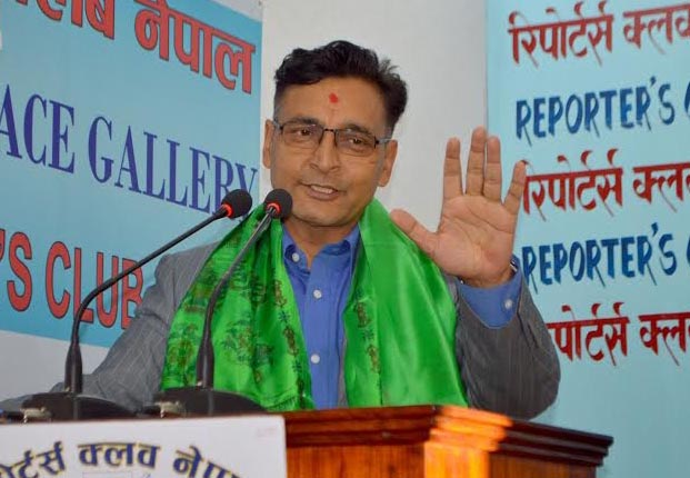 UCPN-Maoist leader Top Bahadur Rayamajhi speaking at an interaction at the Reporters' Club in the Capital, on Wednesday, November 4, 2015. Photo: Reporters' Club