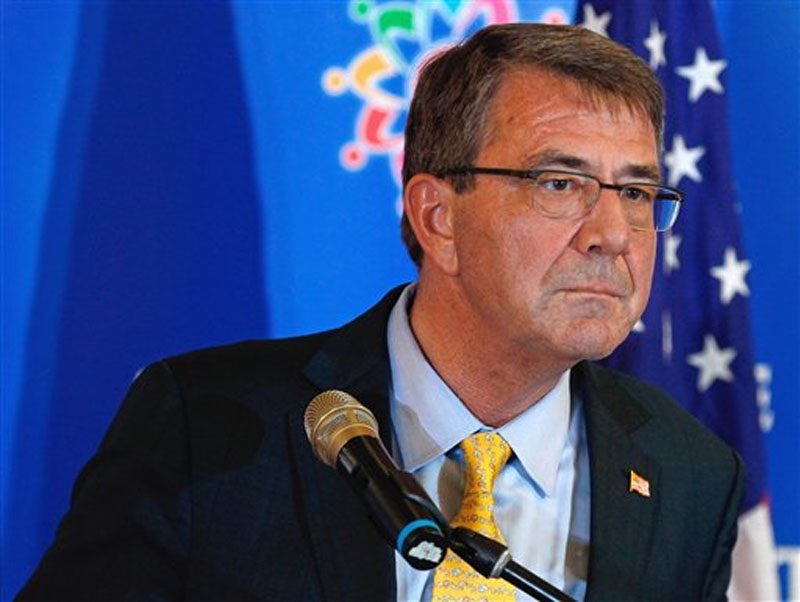 Defense Secretary Ash Carter listens to a question during a news conference after the Association of Southeast Asian Nations (ASEAN) Defense Ministers' Meeting Plus in Kuala Lumpur, Malaysi on Wednesday, November 4, 2015. Photo: AP