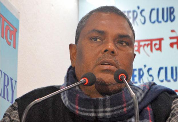 Upendra Yadav speaking at the Reporters Club in Kathmandu on November 24, 2015.