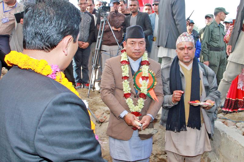 Vice President Nanda Bahadur Pun laid the foundation stone of the 29-storey Kathmandu View Tower in Old Bus Park of Kathmandu district on Wednesday, November 11, 2015. Photo: RSS