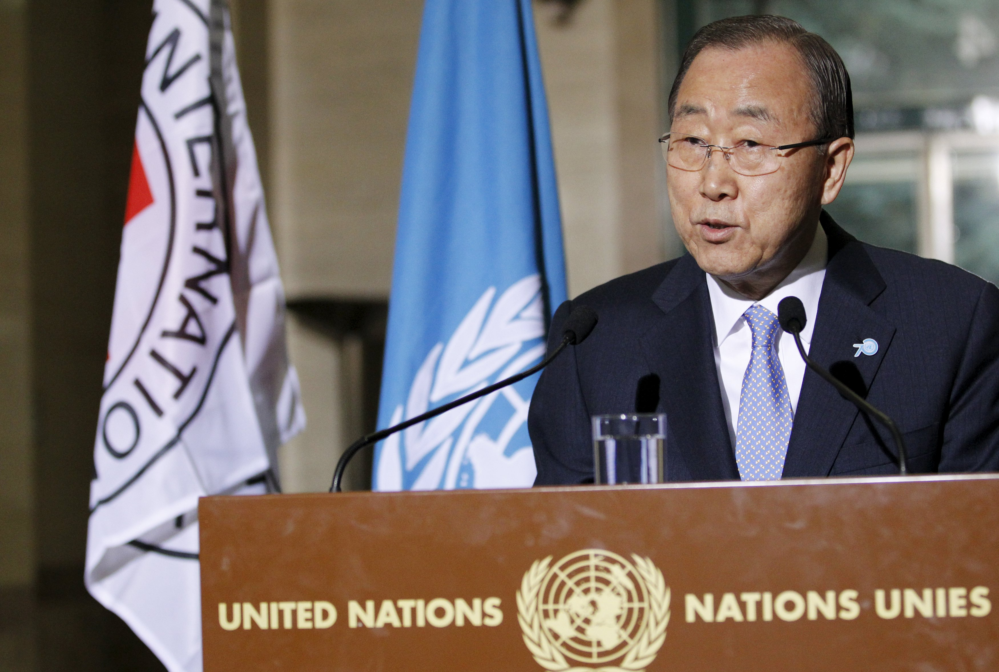 UN Secretary-General Ban Ki-Moon speaks to the media with International Committee of the Red Cross (ICRC) President Peter Maurer (not pictured) about the worldu2019s humanitarian crises at the United Nations European headquarters in Geneva, Switzerland, October 31, 2015. Photo: Reuters