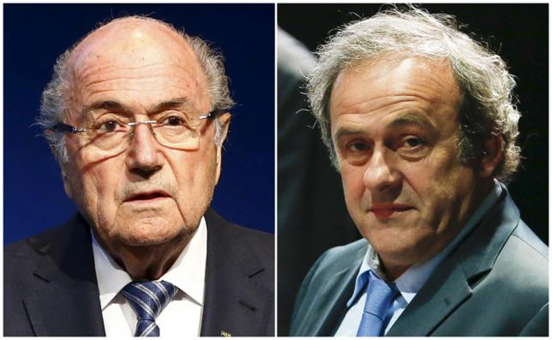 Combination file photograph of FIFA President Sepp Blatter addressing a news conference at the FIFA headquarters in Zurich, Switzerland June 2, 2015 and UEFA President Michel Platini (right) attending the 65th FIFA Congress in Zurich, Switzerland, May 29, 2015. Photo: Reuters