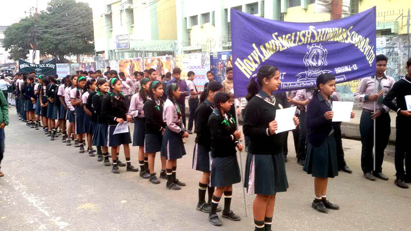 Students of a Birgunj-based school demonstrate in support of the ongoing Madhes agitation, in Parsa, on Saturday, November 28, 2015. Photo: Ram Sarraf