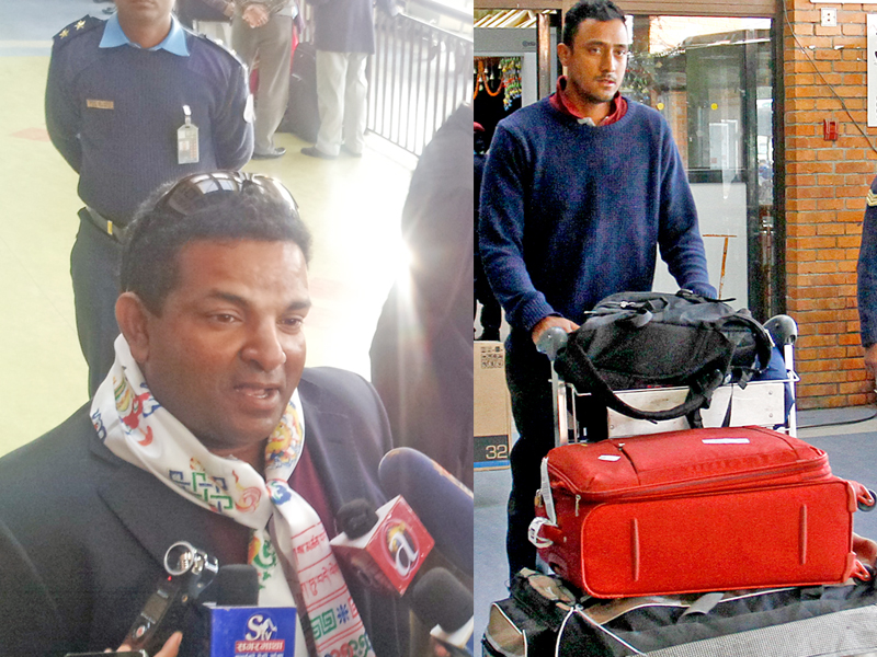 Coach Pubudu Dassanayake reacts to media and skipper Paras Khadka coming out upon the national teamu0092s arrival at the TIA on Friday, after playing the ICC World Cricket League Championship matches against Papua New Guinea in the UAE. Photo: THT