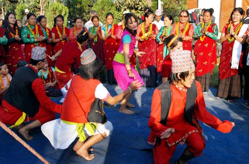Participants performing a dance in a Bhailo programme organised by Nepal Tamu (Gurung) Women Association, at Navabuddha Gurung Sewa Samiteeu201a Sukedharau201a Dhumbarahiu201a in Kathmanduu201a on Mondayu201a October 24u201a 2011. Photo: Rajesh Gurung/THT