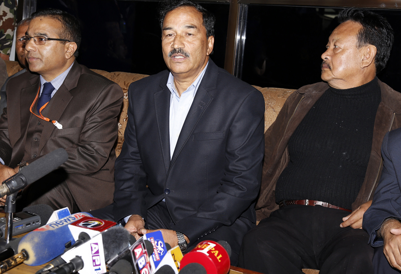 Deputy Prime Minister and Minister for Foreign Affairs Kamal Thapa speaks to journalists upon his arrival at the Tribhuvan International Airport, from Geneva, on Friday, November 6, 2015. Photo: RSS