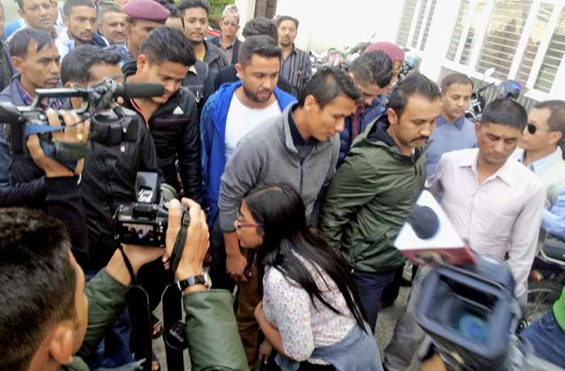 Match-fixing accused football players being taken to the Special Court for their trial in Babarmahal, on Sunday, November 1, 2015. Photo: Mahesh Acharya/ THT