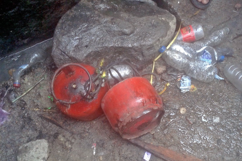The cooking gas cylinder that exploded in Garuda bazaar of Rautahat on Tuesday, November 24, 2015. Photo: Prabhat Kumar Jha