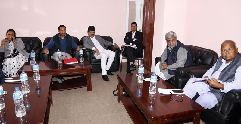 Leaders of United Democratic Madhesi Front hold talks with the government team, in Kathmandu, on Sunday, November 1, 2015. Photo: RSS