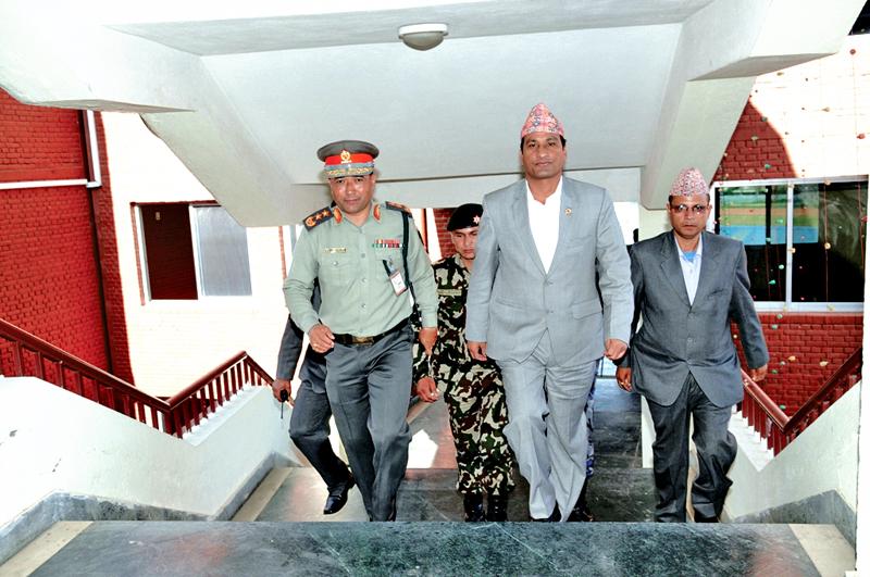 Home Minister Shakti Basnet inspecting the Armed Police Force headquarters in Kathmandu on Friday, November 06, 2015. Photo: THT