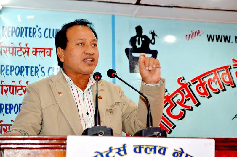 National Sports Council Member-Secretary Keshav Bista speaking at Reporters' Club in Kathmandu on Wednesday, November 04, 2015. Photo: Reporters' Club