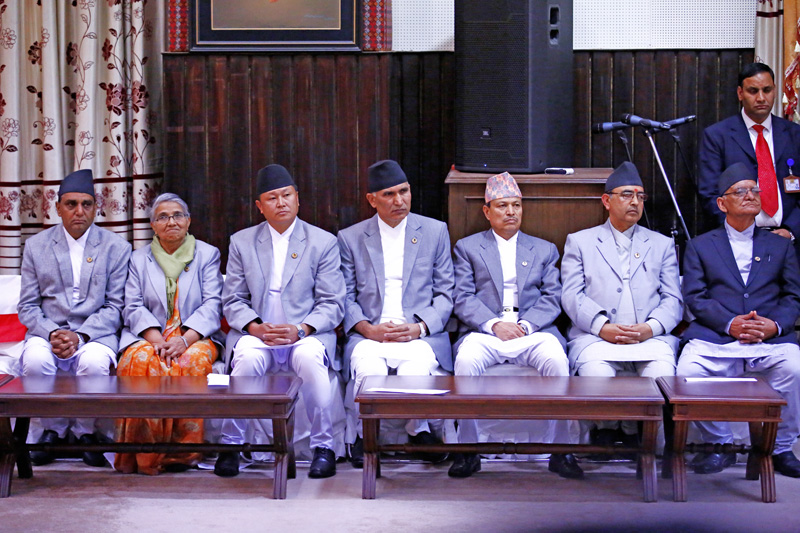 Newly appointed DPMs and Ministers at the swearing-in ceremony of in Sheetal Niwas, on Thursday, November 05, 2015. Photo: Skanda Gautam