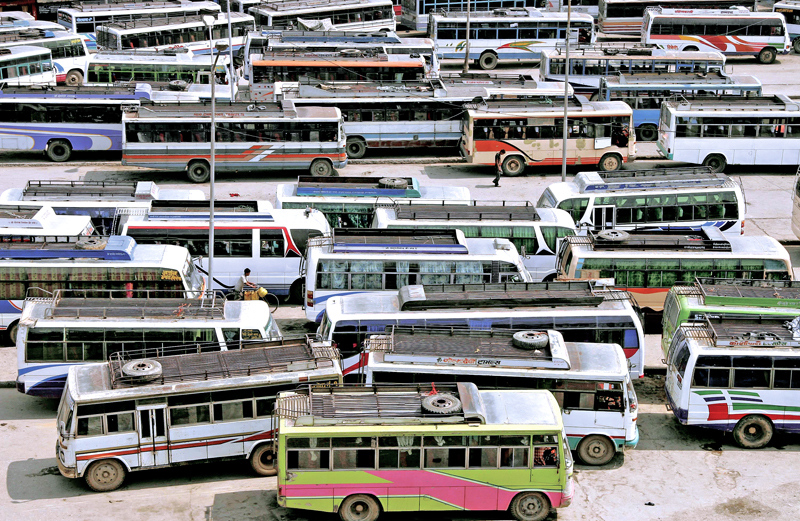 Stranded passenger vehicles are parked due to bandh called by various small parties, at the Old Bus Park, Ratnapark, Kathmandu.Photo: THT/ File
