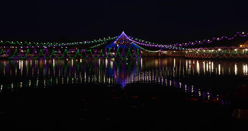 A pond decorated for the Chhath festival, in Ghadirawa of Birgunj, on Monday, November 16, 2015. Photo: Ram Sarraf