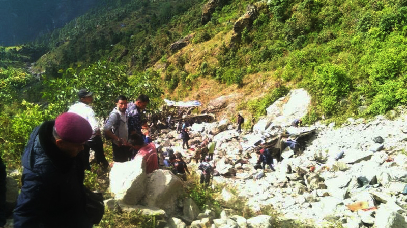 A bus that met with an accident at Ramche of Rasuwa district on Tuesday, November 03, 2015. Photo: Keshav Adhikari