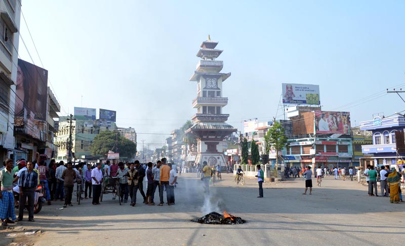 Protesters obstructing a road in front of the Ghantaghar in Birgunj on Monday, November 2, 2015. Photo: Ram Sarraf