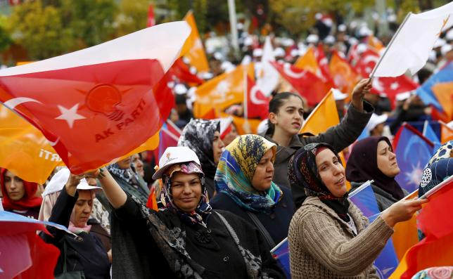 Supporters of the ruling AK Party wave national and party flags during an election rally in Ankara, Turkey, October 31, 2015.  Photo: REUTERS