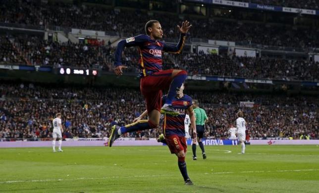 Football - Real Madrid v Barcelona - Liga BBVA - Santiago Bernabeu - 21/11/15Neymar celebrates after scoring the second goal for Barcelona Photo: Reuters