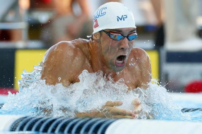 Aug 10, 2015; San Antonio, TX, USA; Michael Phelps swims in the men's 200-meter breaststroke final during the Phillips 66 National Championships at Northside Swim Center.  Soobum Im-USA TODAY Sports
