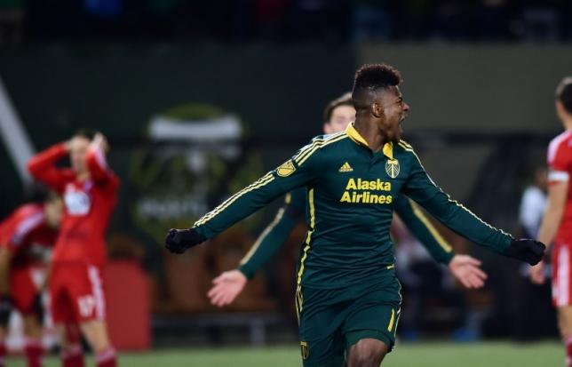 Nov 22, 2015; Portland, OR, USA; Portland Timbers midfielder/forward Dairon Asprilla (middle) celebrates after scoring against FC Dallas in the second half of leg one of the Western Conference championship at Providence Park. The Timbers won 3-1. Mandatory. Photo: Reuters