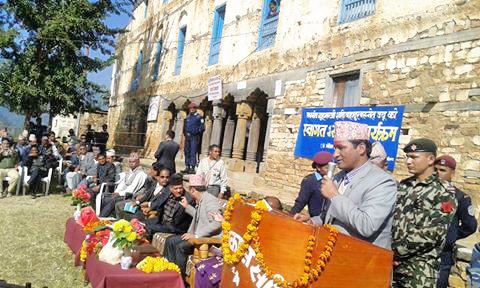 Minister for Home Affairs, Shakti Bahadur Basnet speaks during the Facilitation Program organised in Jajarkot on Friday, November 20, 2015. Photo: Dinesh Kumar Shrestha