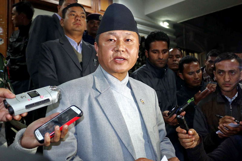 Minister for Information and Communication, Sherdhan Rai briefing the Cabinet decision held today's evening at Singha Durbar, to the journalist in Kathmandu on Tuesday, November 24, 2015.. Photo: RSS