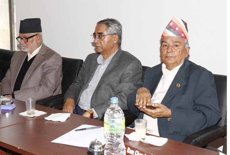 (From left) Nepali Congress President Sushil Koirala, party senior leader Sher Bahadur Deuba and Vice-President Ram Chandra Paudel at the party's Central Working Committee meeting, in Kathmandu, on Monday, November 2, 2015. Photo: RSS