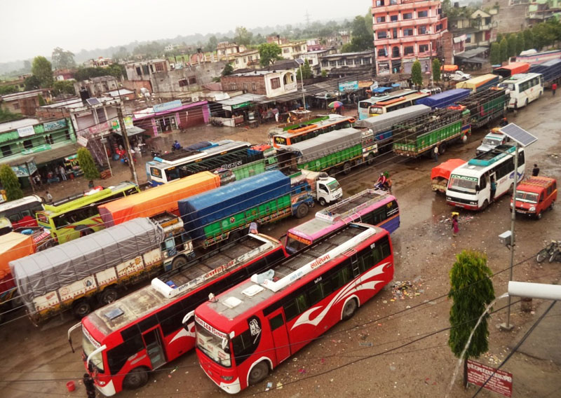 More than 200 buses stranded due to the obstruction by United Democratic Madhesi Front cadres along the East-West Highway, in Chandranigahapur, Rautahat, on Sunday. Photo: THT