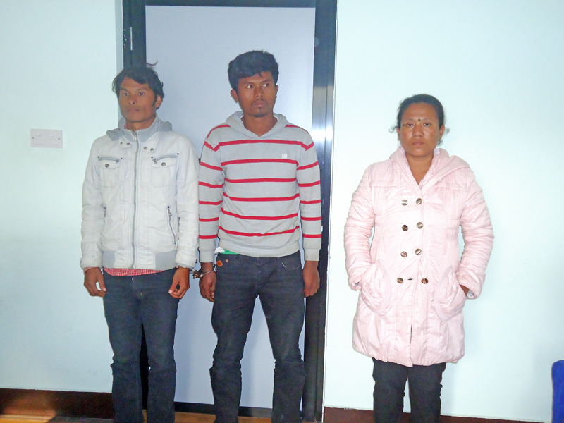 Murder accused trio in the Makwanpur District Police Office. Photo: THT