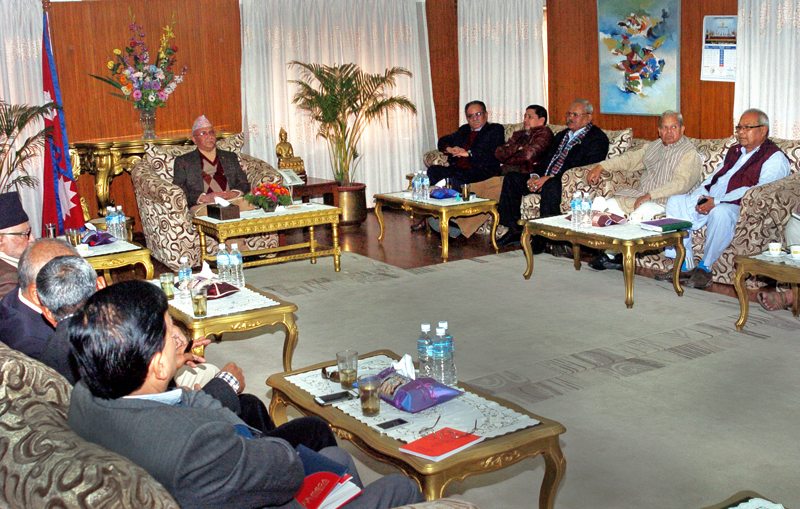 Leaders of four major political parties engaged in talks with Prime Minister KP Sharma Oli at Baluwatar. Photo: THT