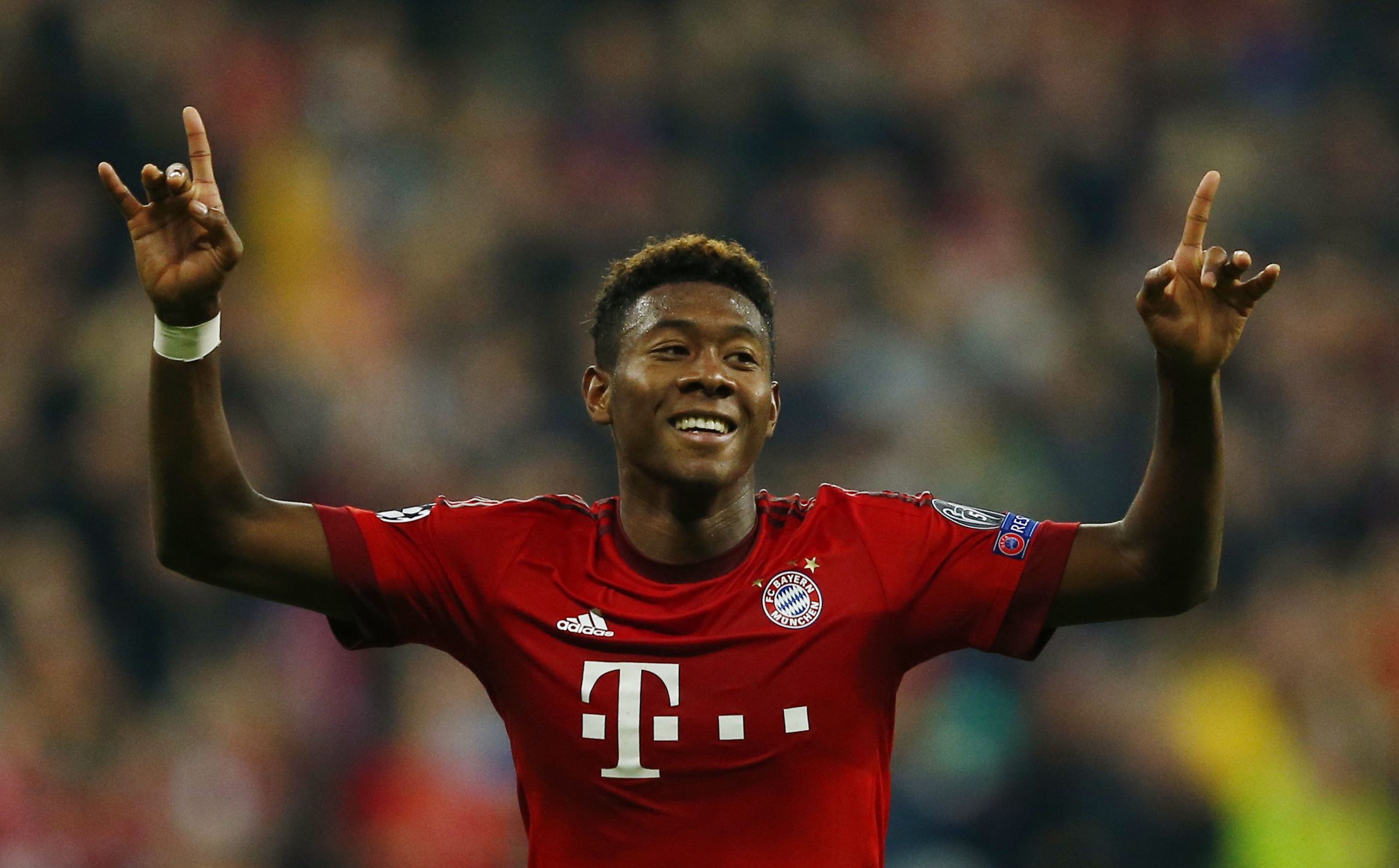 David Alaba celebrates after scoring the third goal for Bayern Munich against Arsenal during UEFA Champions League at Allianz Arena on November 4, 2015. Photo: Reuters