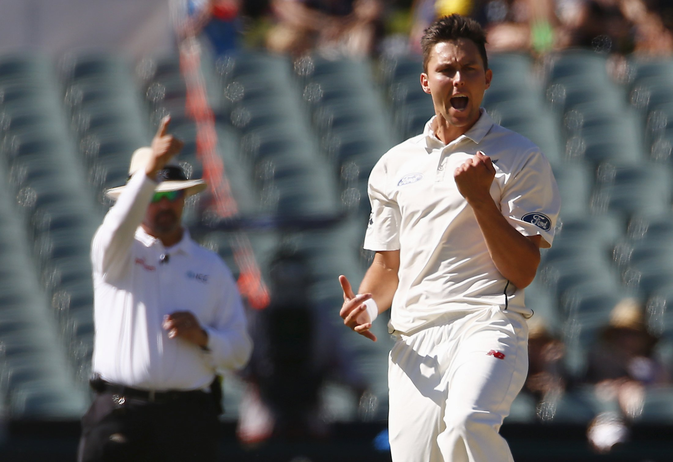 New Zealand's Trent Boult (right) celebrates as umpire Richard Illingworth gives Australia's Joe Burns out LBW for 11 runs during the third day of the third cricket test match at the Adelaide Oval, in South Australia, November 29, 2015. Photo: Reuters