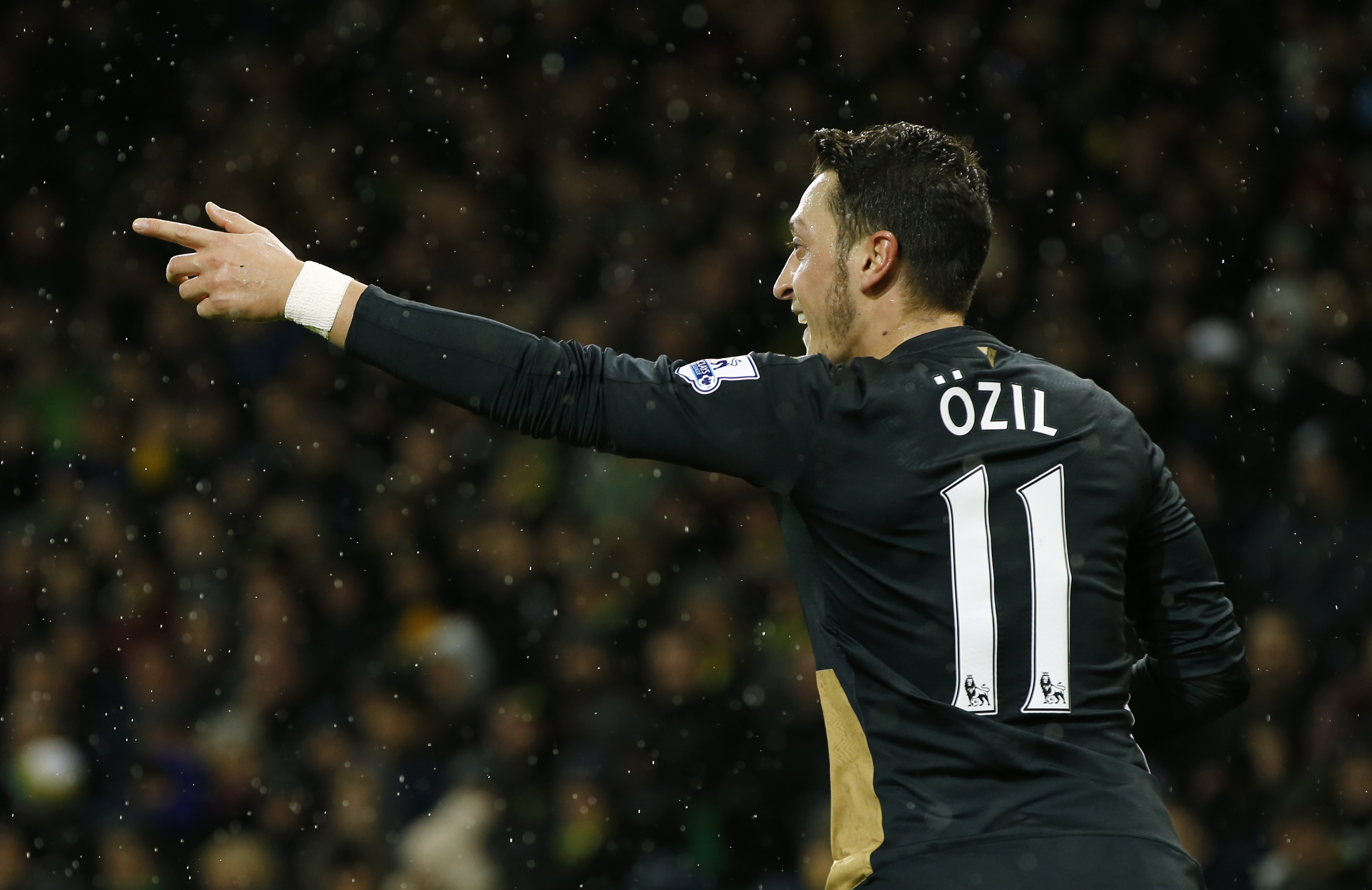Arsenal's Mesut Ozil celebrates scoring their first goal during Barclays Premier League game against Norwich City at Carrow Raod on November 29, 2015. Photo: Reuters