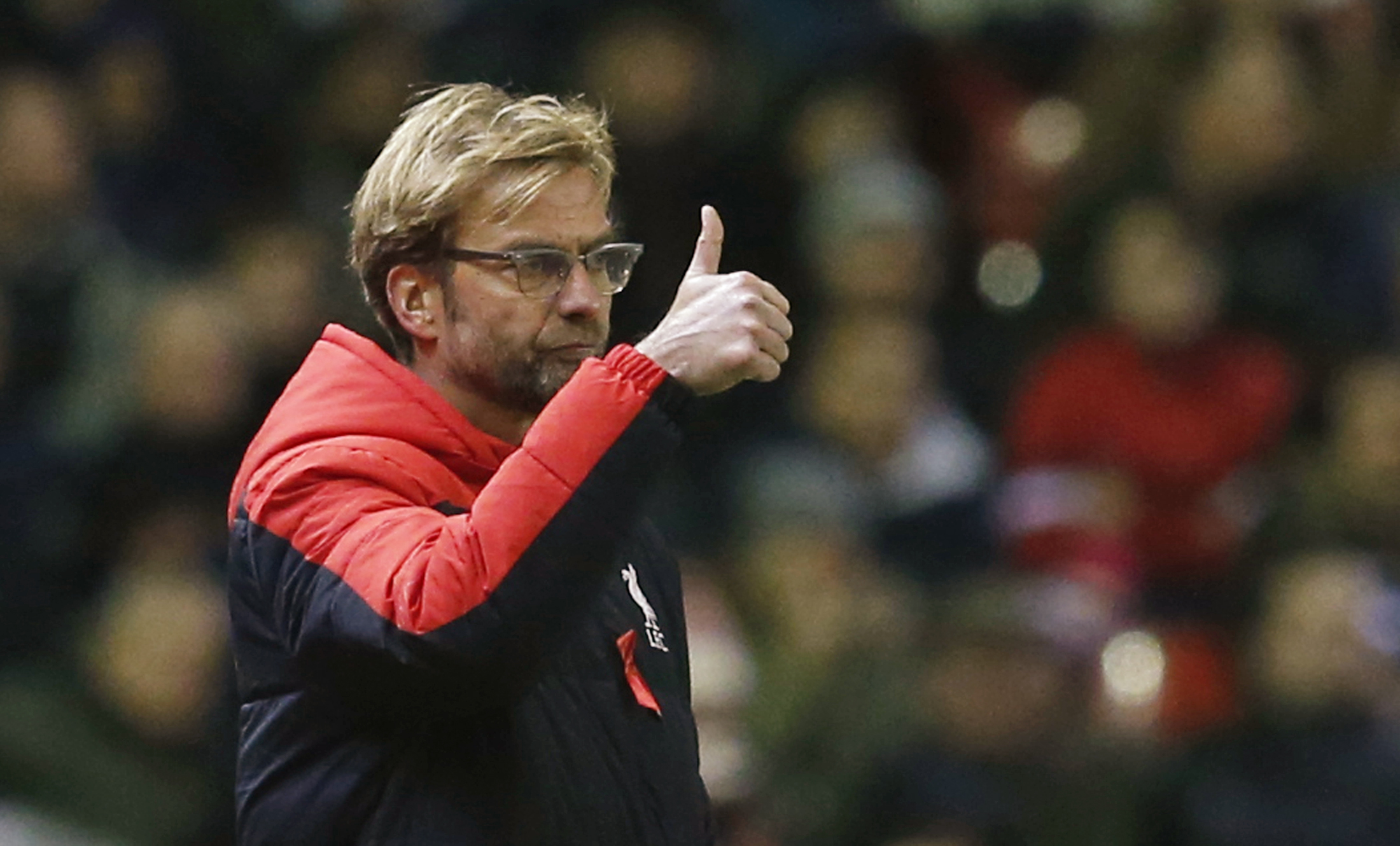 Liverpool manager Juergen Klopp looks on during the Barclays' Premier League game at Anfield on November 29, 2015. Photo: Reuters
