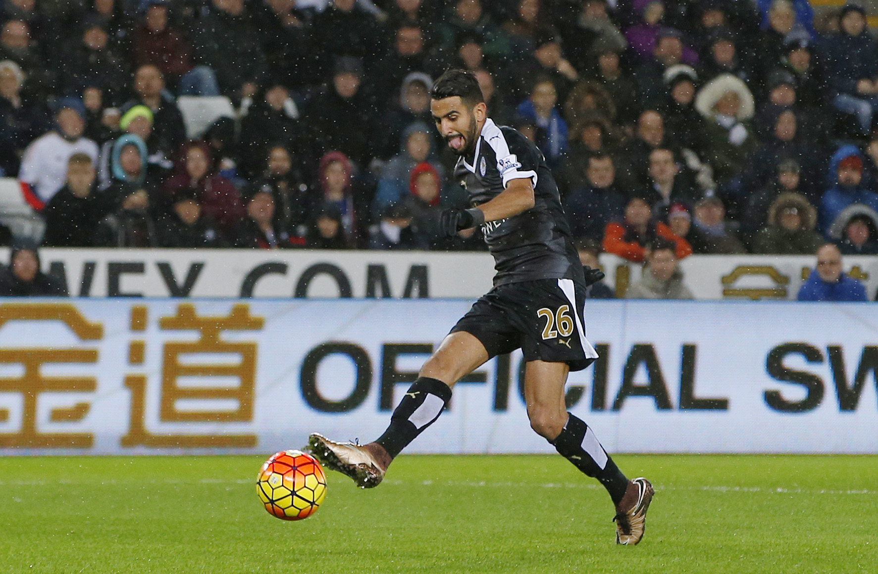 Riyad Mahrez celebrates scoring the first goal for Leicester City during Barclays Premier League game at Liberty Stadium on December 5, 2015. Photo: Reuters