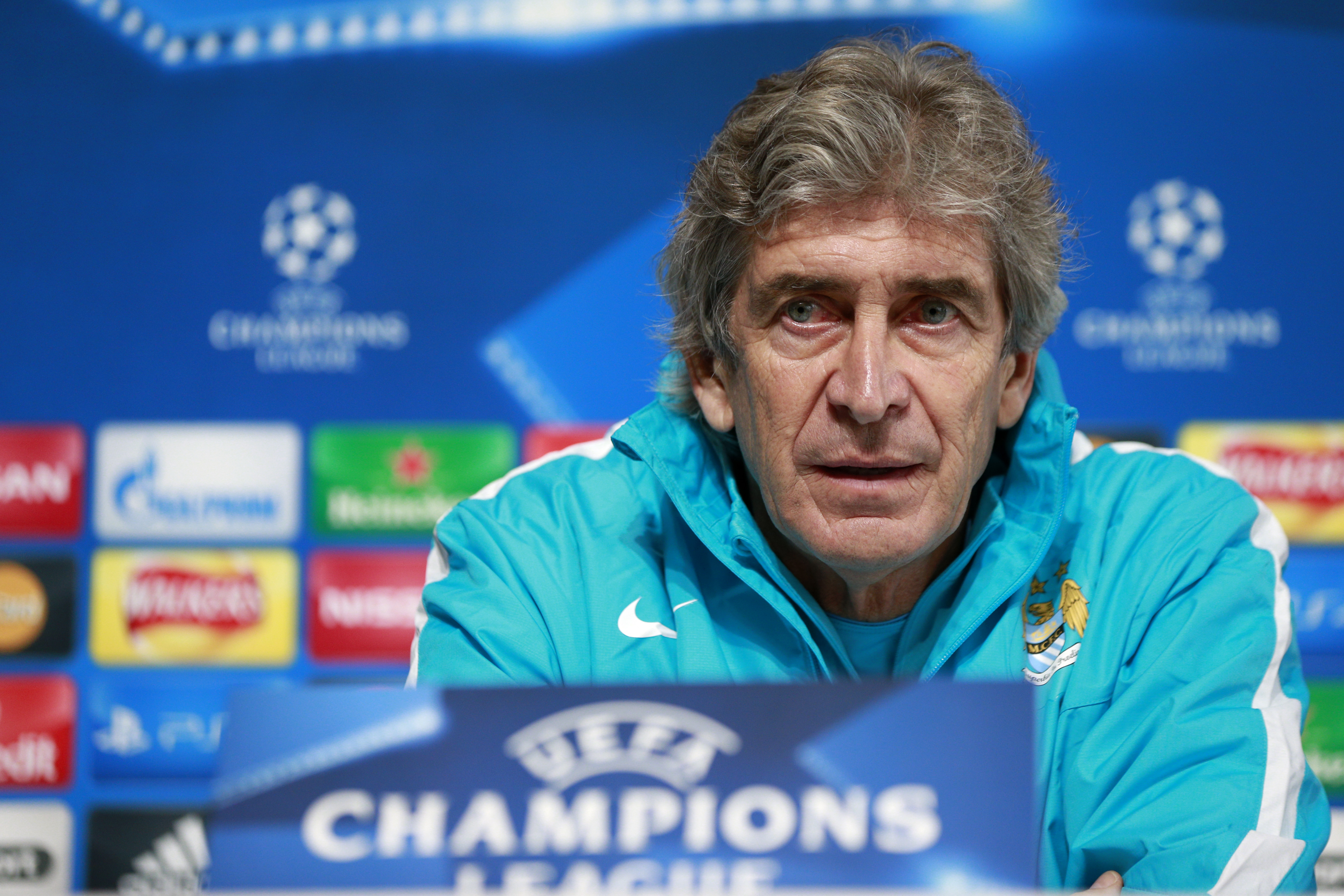 Manchester City manager Manuel Pellegrini during the press conference. Photo: Reuters