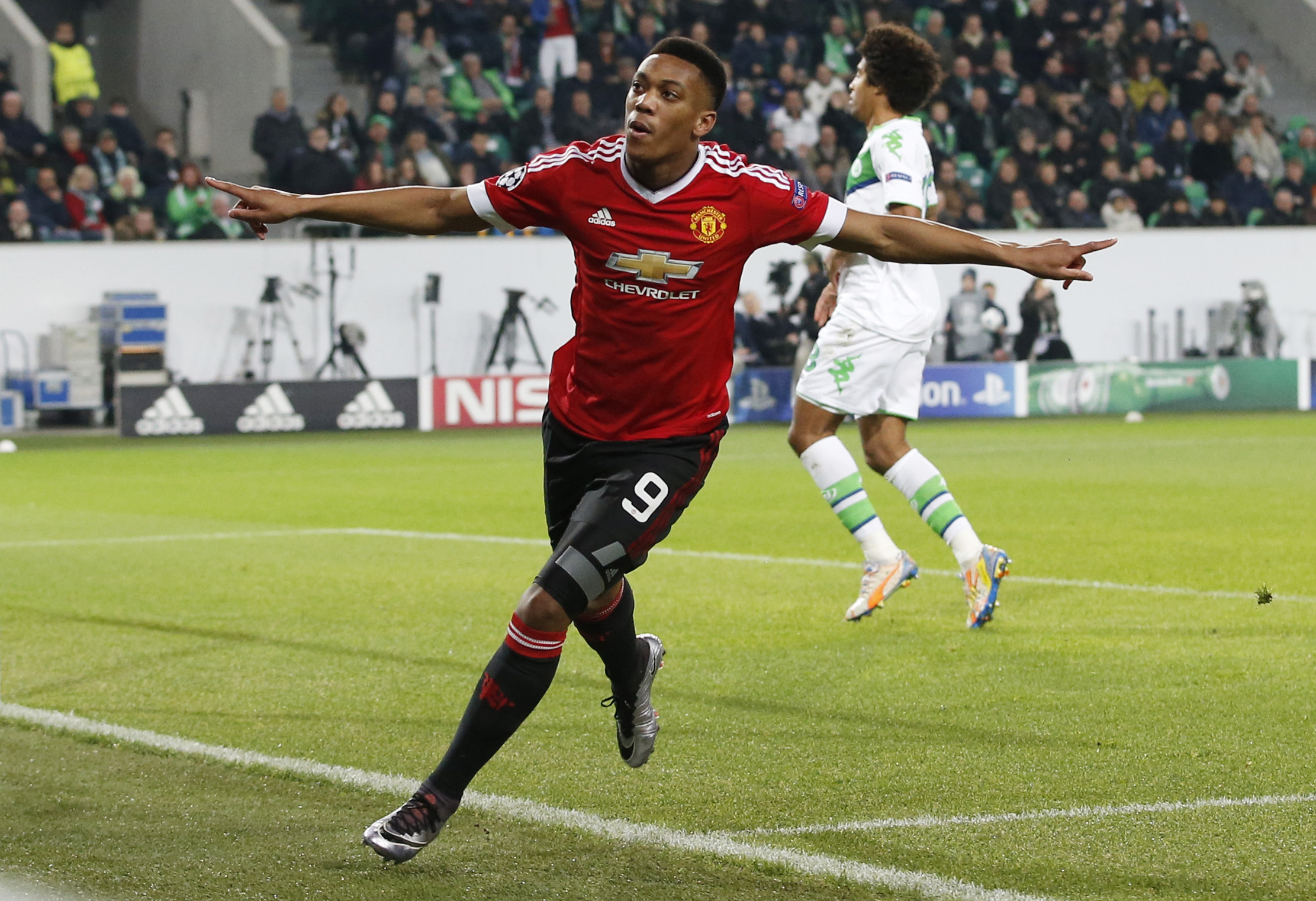 Anthony Martial celebrates after scoring the first goal for Manchester United against Wolfsburg at Volkswagen-Arena on Tuesday, December 8, 2015. Photo: Reuters