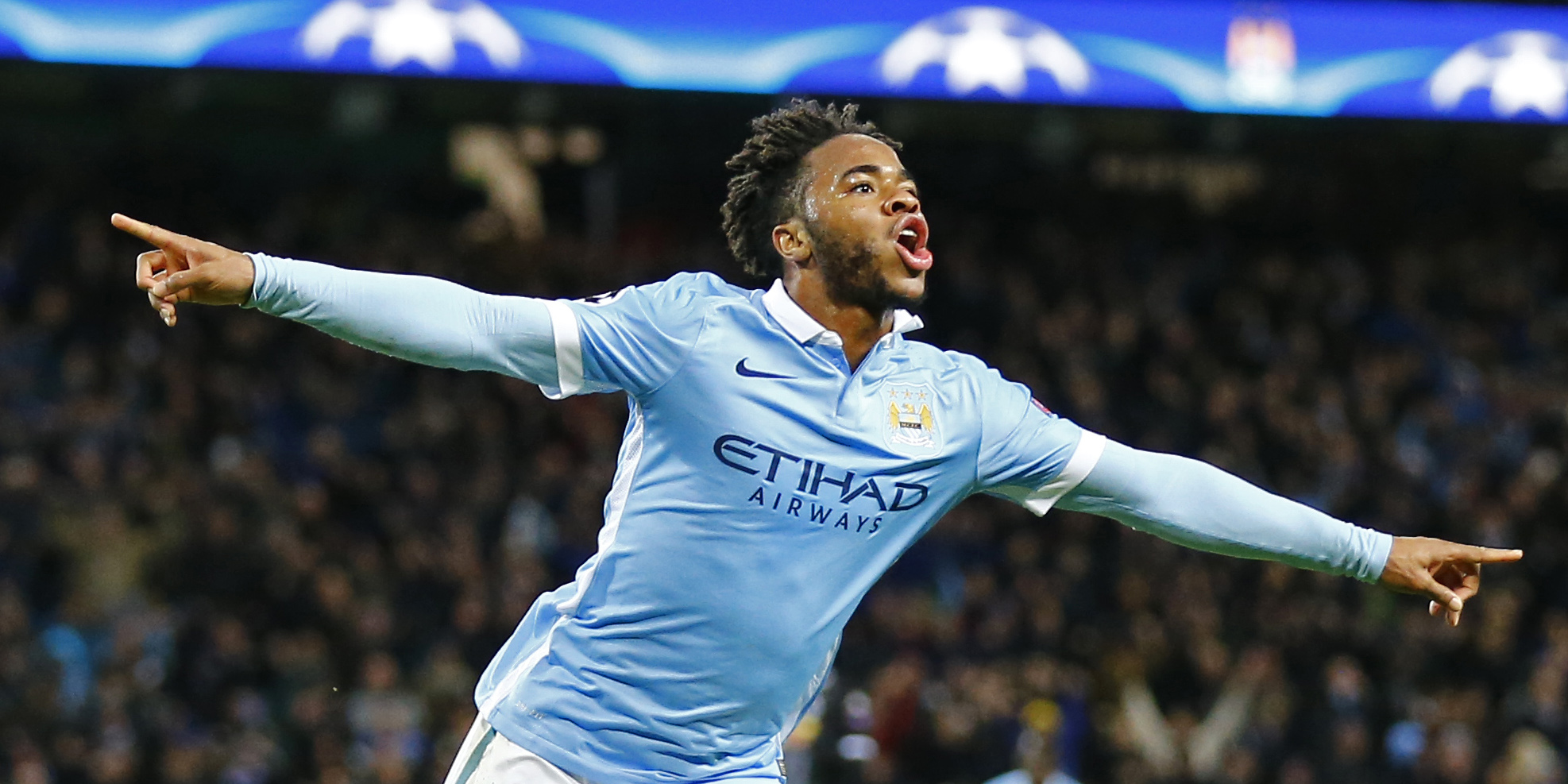 Raheem Sterling celebrates after scoring the third goal for Manchester City against Borussia Monchengladbach at Etihad Stadium on Tuesday, December 8, 2015. Photo: Reuters