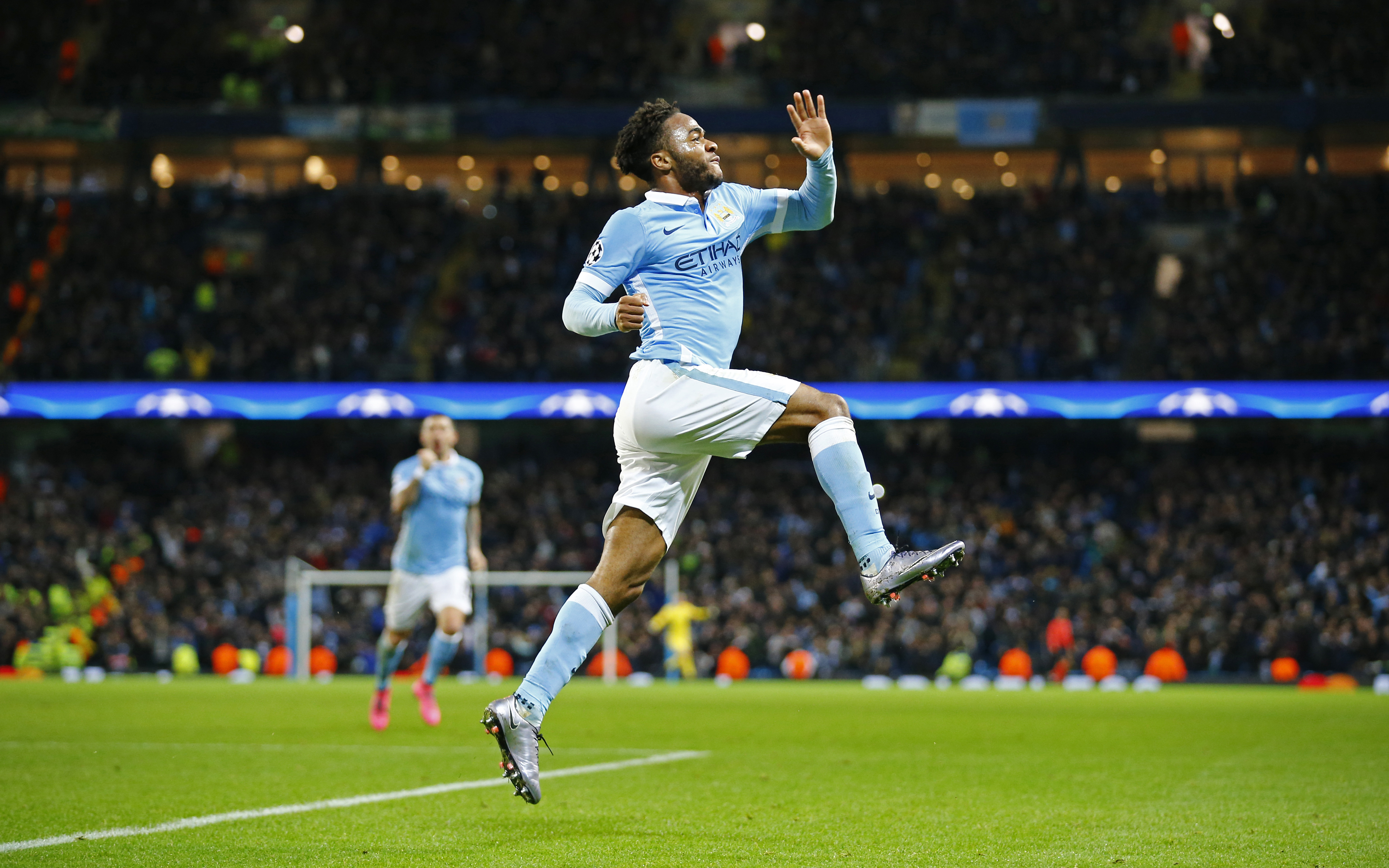 Raheem Sterling celebrates after scoring the third goal for Manchester City against Borussia Monchengladbach on Tuesday, December 8, 2015. Photo: Reuters
