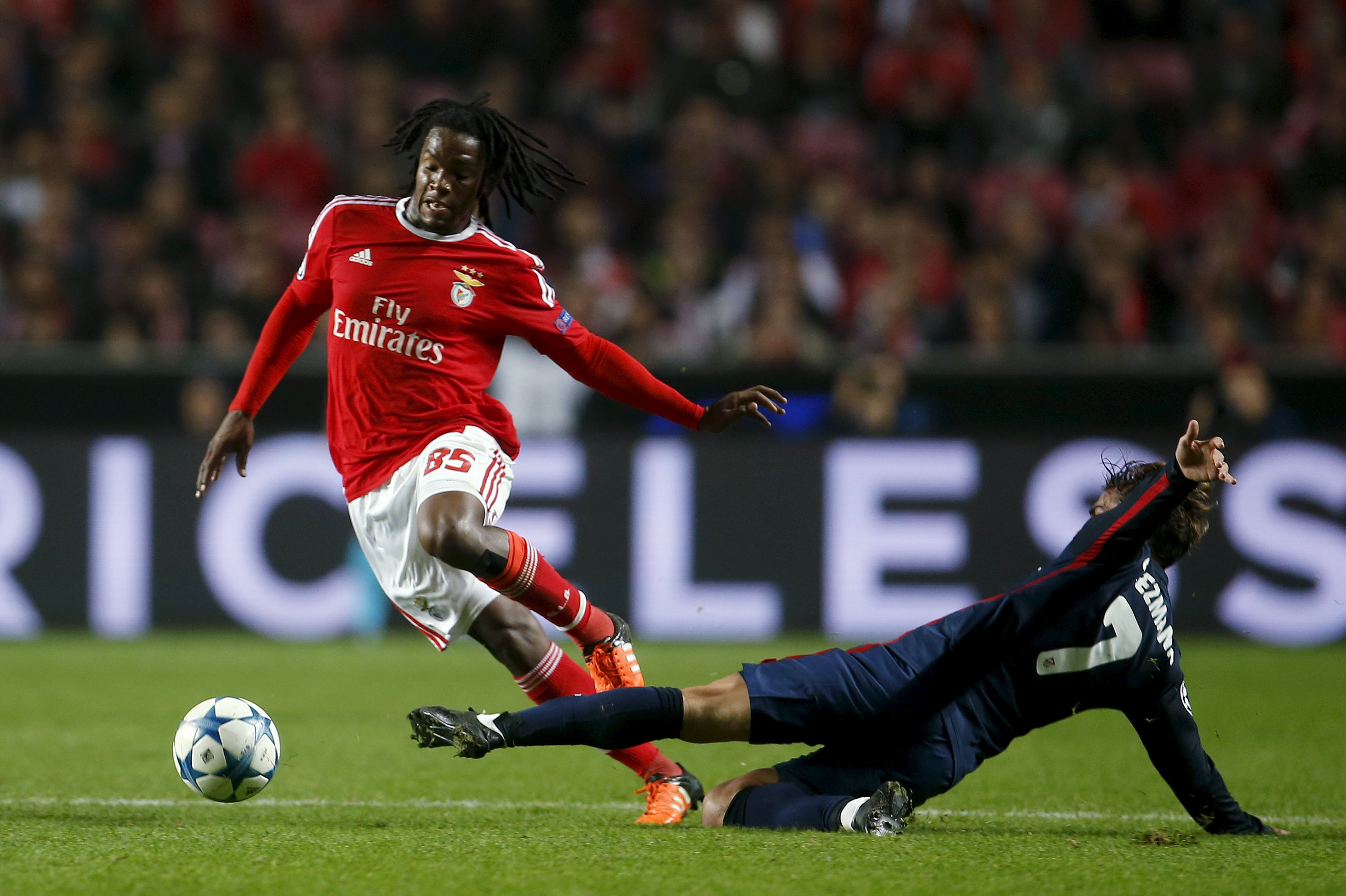 Benfica's Renato Sanches (left) in action against Atletico Madrid's Antoine Griezmann during UEFA Champions League game at Luz Stadium on Tuesday, December 8, 2015. Photo: Reuters
