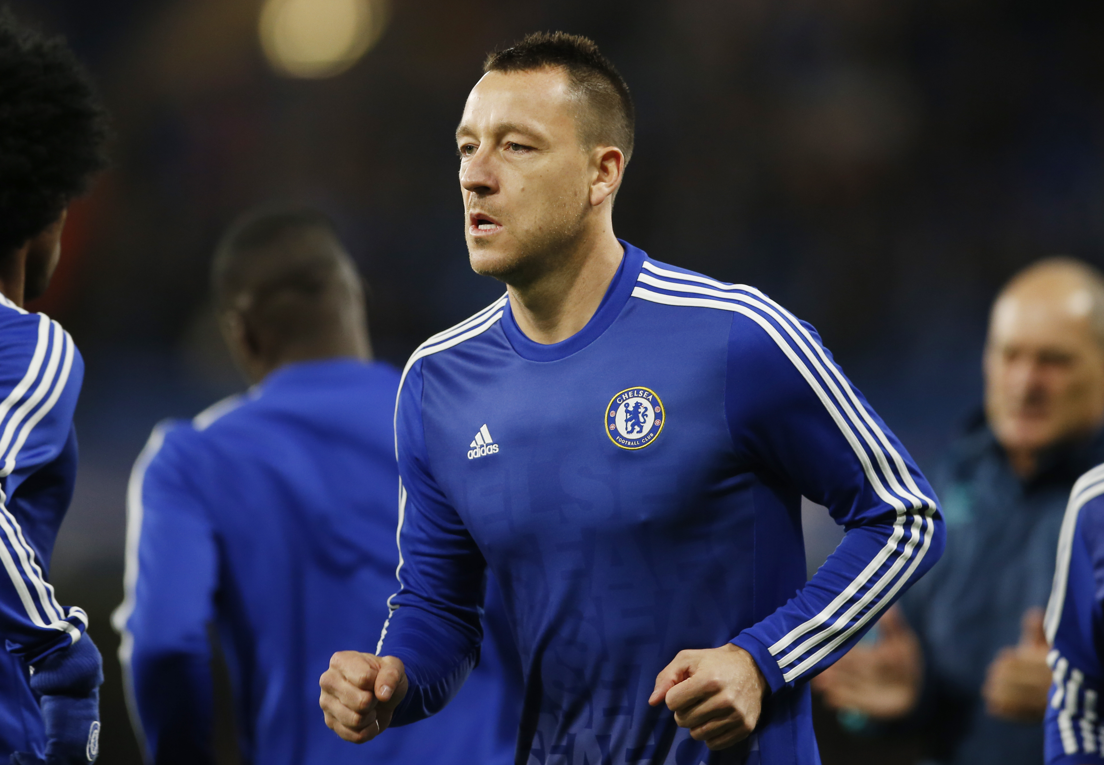 Chelsea's John Terry warms up before the match at Stamford Bridge on December 9, 2015. Photo: Reuters
